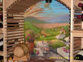 Tuscany wine cellar mural by MuralsbyLeBold