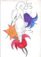 Wolf and flowers tattoo design by wolfhappy