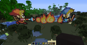Red Link burns Blue Link (Minecraft) by slygirl1999
