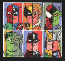 Fleer Retro-Marvel sketch cards by Denver Brub by thecheckeredman