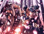 SABRETOOTH vs WOLVERINE (colored) by grandizer05