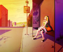 Busstop - color study by Asalia