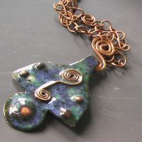 Enamel on Red-Copper Necklace by Barah-Art
