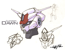 Gundam Dawn head study by Tekka-Croe