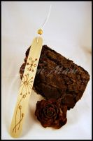 Sold - Bookmark-Wood-Pyrography-Abstract Flower B by SuniMam