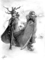 Jon Snow and Qhorin by Zaresh