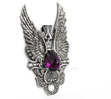 Dark Angel Pendant in Amethyst by Aranwen