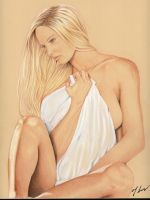 Woman with White Bed Sheet by rodfern2011