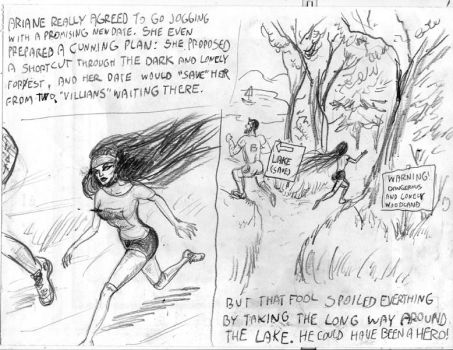 Unused Pencil Sketch 5 - Jogging hero by SteampunkGorgon
