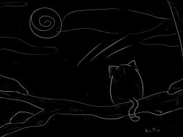 Cat ,Moon and black by Silverrosary