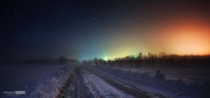 A city lights in winter by NorbertKocsis