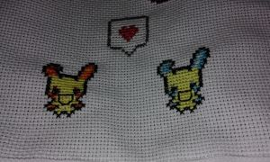 Minun y Plusle cross stitch -love- by Nenetchy
