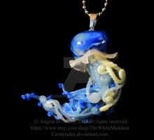 Deep Blue jellyfish pendants by carmendee