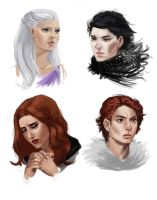 ASOIAF - Jon Snow, Daenerys, Robb and Sansa by Krissy-Vee