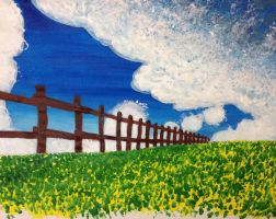 Field and clouds.  Acrylic on paper. by TheTooginator