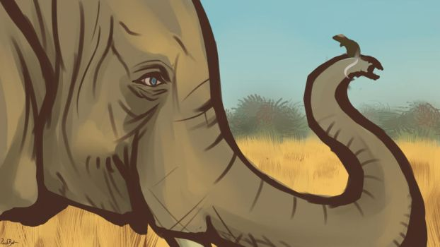 The Elephant and the Mouse by PackRatTheArtist