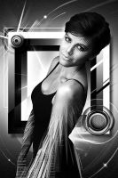b and w experimental piece with girl and square by 8Creo