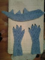 Partial Deadly Fursuit hands and tail by bootyshortscronus