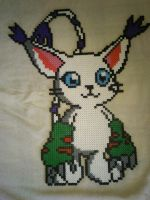 Gatomon - Perler or Hama by Chrisbeeblack