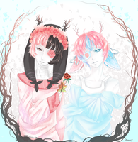 Pink and Blue Rose by Im-a-Happy-Apple