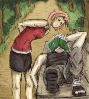 Sneak Peek - Sakura and Kakashi by Scarecrowlover