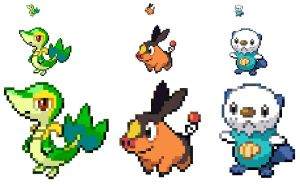 5th gen starters sprites by Stv-Hktk