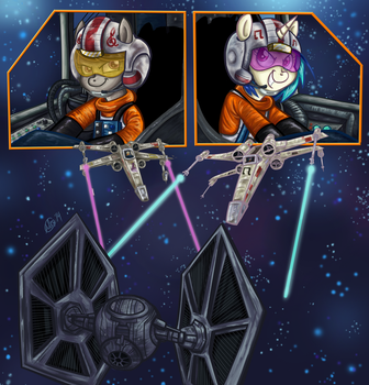 Comm - X-Wing Ponies by BuckingAwesomeArt