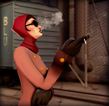 FemSpy with a cigarette by MorintDeLaFooox
