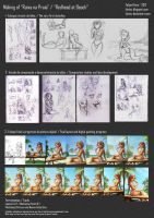 "Making of ""Redhead at Beach"" by KimiSz"