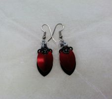 NJ Devils-Inspired Scale Earrings by Spryteness