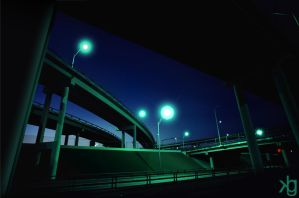 Green Freeway At Dusk by VectorJones