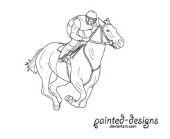 Race Horse Lineart by painted-designs