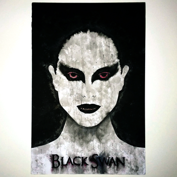 India ink wash Black Swan 11x17 portrait panel by MarkItZeroNET