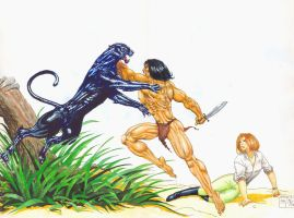 Tarzan vs. Black Panther by avix