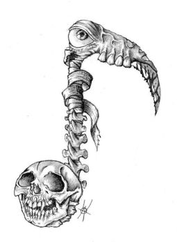 Music note skull and spine by anthonyweber