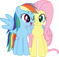 RainbowDash-n-Fluttershy-snuggle by GenixDK