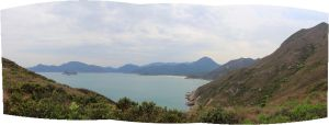 Tai Long Wan(Big Wave Bay) in view from a mountain by lazyseal8