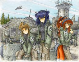 'Save Point' and her Bomber Crew (COLOR) by fredrin