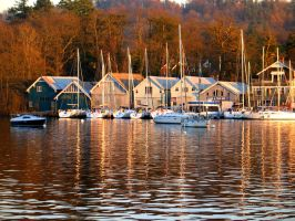 Boats reflected at sunset by SquirrelGirl111