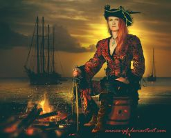 Pirate at Sunset by annewipf