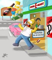 Simpsons in action by Aruvin