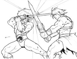 Lion-O vs Heman WIP by jwientjes