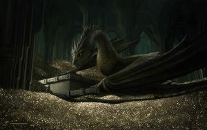 Smaug and Bilbo by KiraraDesign