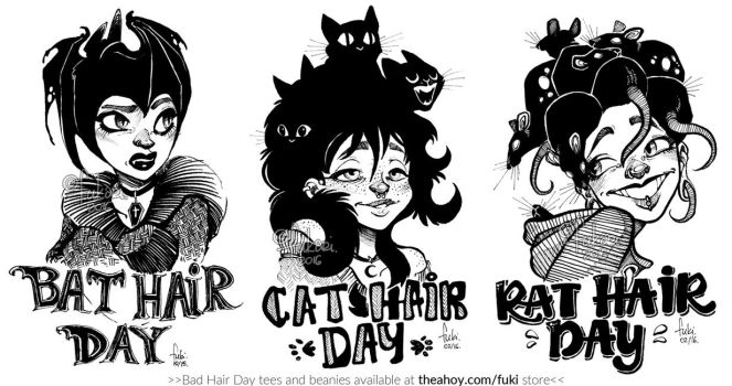 Bad Hair Day - tshirt prints available by Fukari