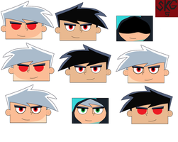 Extra Danny faces 2 by superkamiguru5