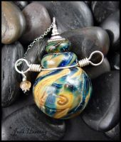 Consider the Stars - Lampwork Perfume Bottle by andromeda