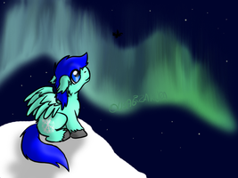 Snow Breeze watching the Northern Lights by Usagi-Zakura