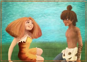 Chilling in tomorrow (Eep and Guy, the Croods) by irina-bourry