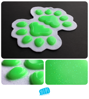 SOLD: Faulty silicone handpads (glittery lime by yeep-yeep