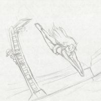Leaf's High Dive ~Commission~ :Sketch: by Xero-J